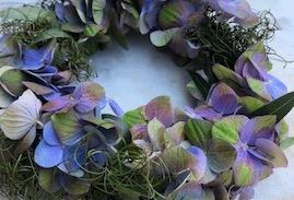 季節の生花から創るドライフラワーインテリア 〜紫陽花のリース〜