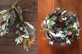季節の生花から創るドライフラワーインテリア 〜豊作の秋リースとスワッグ〜