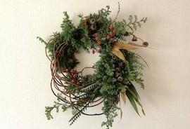 生花で創るオリジナルのクリスマスリース